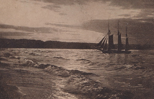 SHIP Traverse City MI 1908 Triple Masted Schooner Tall Ship on West Grand Traverse Bay Ship name unknown CALM SEAS AND A BEAUTIFUL SHIP at Sunset over the Bay1