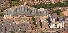 The Blenheim Centre, Hounslow, London (M McBey) Tags: london hounslow aerial shops houses heathrow airport cars parking suburb flying