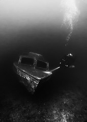 Renascence in the Dark (2019-01-19) (snjscuba) Tags: uk england tamworth birmingham dosthill underwater scuba dive diving boat wreck renascence dark dim moody discover discovery