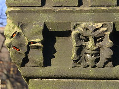 Ladybird Face (Nekoglyph) Tags: skelton cleveland stone green face allsaints insects winter hibernation wall battlements carved foliate head greenman flower wildlife ladybirds red spotted black grotesque
