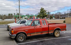 Red Ford 150 (Jim Frazier) Tags: 201801floridatrip 2019 antique automobiles cars city classic classiccars closeup cool detail environmental equipment f150 ford georgia january jimfraziercom machinery machines native notinacarshow parkinglot pickup q3 red restaurant roadtrip study things tofinishediting transportation truck urban used vacation vehicles vintage winter worn instagram