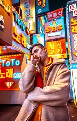 Life in Orange (Erica Almquist) Tags: portrait neon night orange fineart model actor seoul photographer artist sign light colros colors