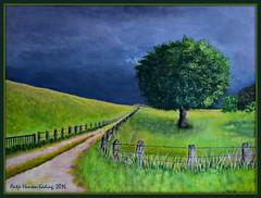 Unwetter am Deich (antje whv) Tags: malerei painting landschaft landscape norddeutschland northgermany deich dike bäume tree zaun fence unwetter