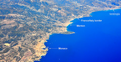 French Riviera and North-West Italy (M McBey) Tags: riviera aerial france italy coast monaco border menton ventimiglia sea blue yachts mountains harbour