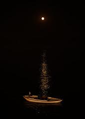 The Virtual Lamp (ZeePack) Tags: moon boat nightscape river reflections lamp ganges varanasi india canon 5dmarkiv