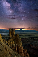 Chimney Rock, the Pedernal, and the Milky Way at Ghost Ranch (Mitch Tillison Photography) Tags: milkyway ghostranch astrophotography night sky star landscape badlands georgiaokeeffe composite mitchtillison photo photography longexposure rock formation mesa butte pedernal abiquiu lake nikon d5