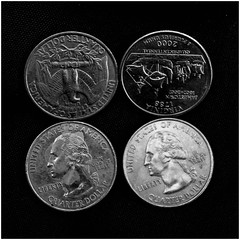 Quartet of quarters (Eric.Ray) Tags: wah things i see everyday quarters black white 2019348 36548 q february alphabet canon closeup macro square