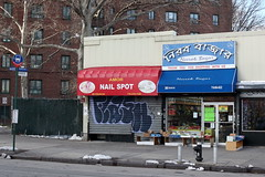 Neerob Bazar and neighbor, Parkchester, Bronx (Eating In Translation) Tags: bronx parkchester grocersandmarkets