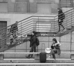 Perfect. Urban. Balance. (RICHARD OSTROM) Tags: monochrome urban up down town city dslr europe fans life bold community female dude face guy rally people big youth concrete madrid spain 2018