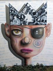The Law of Talion (id-iom) Tags: idiom man bot face freehand spray paint crown talion retaliation eye patch skull crossbones pirate king street urban art graffiti