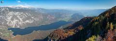 Lake Bohinj (dieLeuchtturms) Tags: julischealpen bohinjskojezero herbst europa see triglav 17x6 panorama bergsee alpen slowenien alpigiulie alps bohinjsee europe julianalps julier julijskealpe lakebohinj republikaslovenija slovenia autumn fall lake ribčevlaz radovljica si
