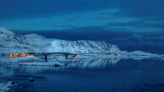 the bridge (shutterbug_uk2012) Tags: bridge lofoten blue hour reflections norway ndil lagoon mountains snow winter warm lights long exposure clouds nikon d850 nd grads