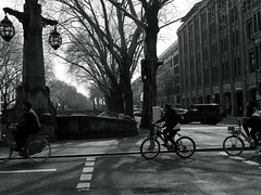 tourists@Kö-Graben, Düsseldorf (Amselchen) Tags: city street streetphotography streetsnap people pedestrians bnw blackandwhite light shadow mono monochrome panasonic citylife urban bicycle panasonicdcgx9 lumixgvario1232f3556