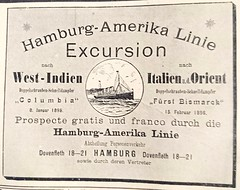 An advertisement from the year of 1895 (zenziyan) Tags: advertise retro antique german vintage ship travel transportation ocean hamburg transport shipping bismarck cruise