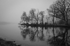 Misty Reflections (chris watkins wales) Tags: mist over llyn padarn snowdonia north wales lake photography uk black white