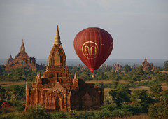 Air Baloon Over Temples And Pagodas In Bagan, Myanmar (Eric Lafforgue) Tags: asia myanmar burma tourism pagan bagan religion faith buddhism photography colorimage buddha internationallandmark famousplace temple pagoda stupa southeastasia spirituality traditionallymyanmarian nationallandmark placeofinterest ancient outdoors architecture history builtstructure tranquilscene horizontal colourpicture archaeology traveldestinations nopeople nobody burma7985