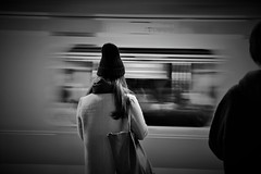 flow (reiko_robinami) Tags: streetphotography station platform monochrome urban train blackandwhite tokyo japan