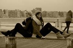 IMG_0086 (boeddhaken) Tags: duoshoot brunette blond blondhair brownhair sexywomen dreamwomen youngwomen women beautifulwomen belgium belgianmodels belgiummodels models greatmodels model greatmodel whitemodel caucasianmodel caucasianmodels caucasian girls dreamgirls 2girls lovelygirls sexygirls cutegirls sea northsea coast beach breakwater dunes