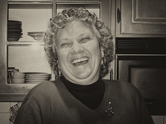 Cindy (leehobbi) Tags: 2003 xmas cindy portrait candid bw blackandwhite vintage laughing