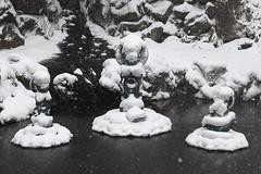 Frozen loti (Elios.k) Tags: horizontal outdoors nopeople bronze statue three jizo jizōbosatsu warabejizo children lotusposition protection legend buddha trees forest dof depthoffield bokeh foregroundblur snowflakes backgroundblur snow snowing winter cold coveredinsnow frozen freezing colour color buddhism religion belief shingonbuddhism shinto pond water kiyotaki waterfall sacredsite japaneseculture japanese tree snowfalling weather buddhisttemple jizodo seiryūji shingon showadaibutsu travel travelling december2017 vacation canon 5dmkii photography aomori aomoriprefecture tōhokuregion tohoku honsu asia japan