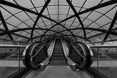 Escalator (T.Seifer : )) Tags: architecture blackandwhite blackwhite subway escalator metro view steel indoors hamburg roof lines geometry modern tourism perspektive whiteandblack whiteblack