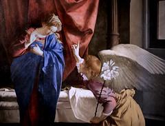 IMG_4203CA Orazio Gentileschi. (Orazio Lorni)  1561-1639. Gênes et Londres. The Annunciation. Vers 1623.  Détail  Turin. Sabauda. (jean louis mazieres) Tags: peintres peintures painting musée museum museo lafemmedanslapeintureeuropéenne thewomanineuropeanpainting