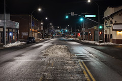 Grand Avenue (Curtis Gregory Perry) Tags: pullman washington night grand avenue street road ice winter cold snow icy nikon d810 longexposure signal light stoplight