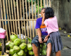 Medical Attention (Beegee49) Tags: street coconuts girl man medical attention happy planet luminar sony a6000 bacolod city philippines asia