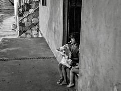 The Puppy (geoffwi100) Tags: street streetphotography doorstep siblings baby child girl puppy pup dog mexico puertovallarta