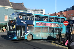 ANE 7533 @ Newcastle-upon-Tyne Eldon Square/Haymarket bus station (ianjpoole) Tags: arriva north east alexander dennis enviro 400 nk64eeu 7533 working max route x18 newcastleupontyne haymarket bus station alnwick