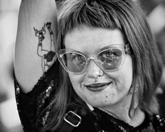 true blue (gro57074@bigpond.net.au) Tags: trueblue australiaday 2018 january tattoo glasses f28 70200mmf28 nikon camperdown sydney monochrome monotone mono guyclift spontaneous portrait bw blackwhite woman