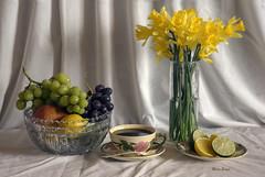 Herald Of Spring (mevans4272) Tags: flowers fruit glass grapes limes lemons apple life still
