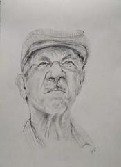 Practica de retrato con visera (benilder) Tags: retrato portrait avechat graphite grafito benilde dibujo draw sketch