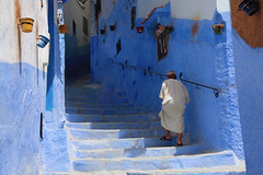 Old man going up blue stairs (maios) Tags: oldmangoingupbluestairs oldman goingup blue stairs old man africa chefchaouen morocco nikon d7100 nikond7100 maios
