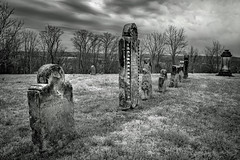Green Hill Cemetery_BW (Bob G. Bell) Tags: cemetery tombstones graveyard clouds haunted bw union greenhill monroe bobbell nikon d750