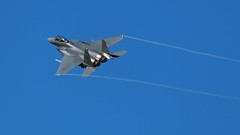 Eagle Overshoot. (spencer_wilmot) Tags: f15eagle f15 usafe ln lakenheath fighter fighterjet jet combataircraft militaryaviation aviation plane aircraft airplane overshoot vortices twin twinfin bluesky airbase egul lkz lkzegul grey