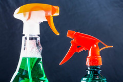 Spray with the sprayers for cleaning glass and mirrors (wuestenigel) Tags: spray chemical housework closeup concept liquid background clean cleaning antibacterial plastic sanitary disinfect green object cleanser hygiene domestic container bottle noperson keineperson flasche kunststoff glass glas flüssigkeit one ein h2o equipment ausrüstung research forschung cap mütze isolated isoliert health gesundheit business geschäft desktop merchandise waren conceptual konzeptionell