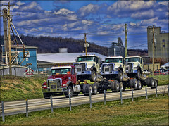 Mack Trucks (raymondclarkeimages) Tags: rci raymondclarkeimages 8one8studios flickr usa 6d outdoor google fullframe 70200mm transportation trucking canon commercial clouds semi sky processed trucks daycab road piggyback tow towing macktrucks transport mack wheeles blackborder