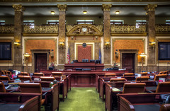 Vox populi-----Voice of the People (donnieking1811) Tags: utah saltlakecity statecapitolbuilding statecapitol capitol senatechambers senate benches chairs lights columns clock flags usflag americanflag voxpopuli railing ornate interior sign hdr canon 60d lightroom photomatixpro