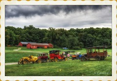 A Gathering (* Gemini-6 *) Tags: vehicle transportation automobile truck sky clouds hdr framed vintage trees ford aircraft airplane barn building
