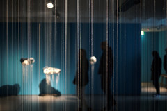 Hanging By A Thread (Rob₊Lee) Tags: minimal room lowlight line thread installation art light gallery people shadow silhouette blue