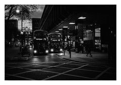FILM - Evening buses (fishyfish_arcade) Tags: 35mm analogphotography bw blackwhite blackandwhite canonsureshottelemax filmphotography filmisnotdead hp5 istillshootfilm monochrome analogcamera compact film ilford mono london bus