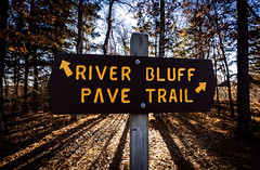 Saint Croix State Park: River Bluff - Pave Trail (Tony Webster) Tags: minnesota pavetrail saintcroixstatepark stcroixstatepark arrows pavedtrail riverbluff sign signage typography winter