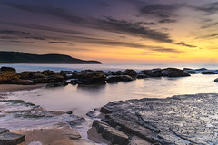 Dawn Sky over a Rocky Seascape (Merrillie) Tags: daybreak sunrise cloudy australia nsw centralcoast clouds sea newsouthwales rocks earlymorning morning water landscape ocean nature sky waterscape coastal seascape outdoors killcarebeach dawn coast killcare waves