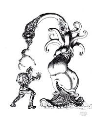 Unlawful Carnality (Joaquín Ágreda Yécora) Tags: pencil lápiz monster creature desing horror lovecraft cthulhu policía monstruo naked terror