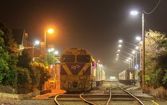 N459 has shutdown for the night at Warrnambool station after arriving with the night service (bukk05) Tags: emd12645e3c jt22hc2 vn17 cityofechuca wannon mainline broadgauge bg vlinepassenger vline victorianrailways victorianrailway vr victoria canon60d canon zoom australia summer station diesel flickr horsepower hp locomotive loco publictransport publictransportvictoria ptv passenger passengertrain photography photo transport yard timeexposure trains tracks train tamron16300 tamron rp3 railroad railpage railwaystation railwaystations rail railway cityofwarrnambool earth electromotivediesel engine emd export explore warrnambool world nclass n459 rpauvicnclass rpauvicnclassn459