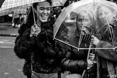 Happy When It Rains (Cycling-Road-Hog) Tags: blackwhite candid canoneos750d citylife colour efs55250mmf456isstm edinburgh edinburghstreetphotography fashion monochrome people places princesstreet scotland street streetphotography streetportrait style umbrella urban