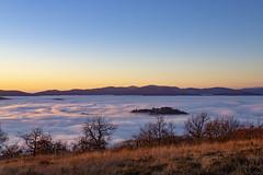 Preggio (Cristiano Pelagracci) Tags: sunset paese paesaggi clouds nuvole fog nebbia italy umbria tree sky cielo