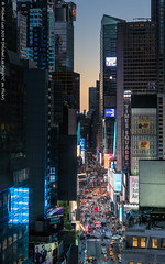 Times Square (20190209-DSC04488-Edit) (Michael.Lee.Pics.NYC) Tags: newyork timesquare aerial hotelview novoteltimessquare broadway sunset bluehour signage avertising road street cars traffic reflection architecture cityscape sony a7rm2 fe24105mmf4g
