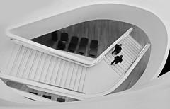 downstairs (heinzkren) Tags: schwarzweis blackandwhite bw sw monochrome panasonic lumix indoor couple treppe stairs hotel geometry architectur architektur urban candid modern contemporary design stiegen aufgang abgang innamoramento